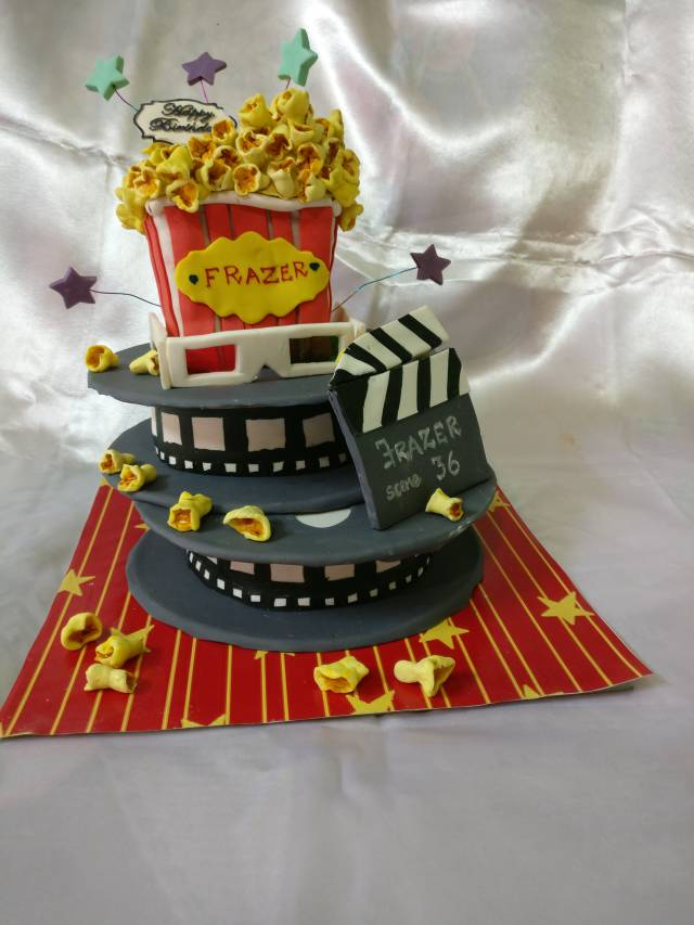 Admirable Themed Birthday Cake 3 Movie Theatre Theme Cake Cakesdecor Funny Birthday Cards Online Alyptdamsfinfo