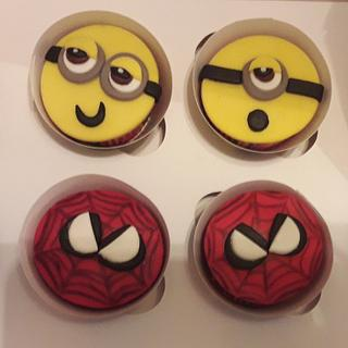 Minnions & sipderman cupcakes