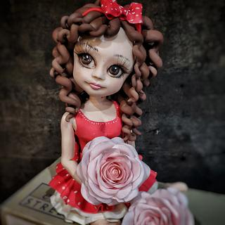 Girl with rose topper