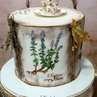 Herbarium and tea for herbalist:) - Cake by SojkineTorty