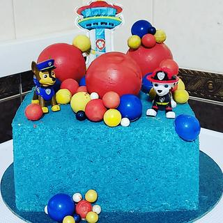 Paw Patrol cake, Racer and Marshal in a maze of chocolate balls