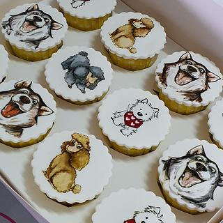 Hand drawn Doggy Cupcakes