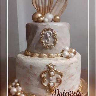 DORADO Y PERLA  - Cake by Gisela Gañan