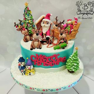 Santa and sleigh Christmas cake - Cake by Bonnie Bakes UAE