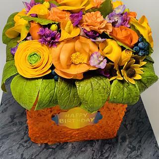 Birthday cake with sugar flowers