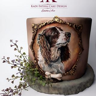 Handpainted dog cake