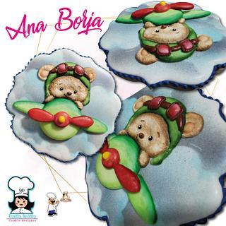 Teddy in plane - Cake by NanitaPachita_AnaBorja