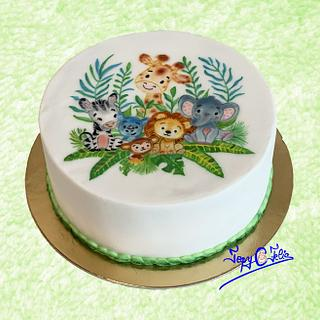 Jungle cake hand painted