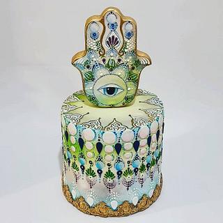 hamsa cake folk art collaboration - Cake by Netta