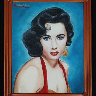 Homage painting to Elizabeth Taylor collaboration  - Cake by Catia guida