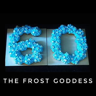 A cupcake number cake for the 60th  - Cake by thefrostgoddess