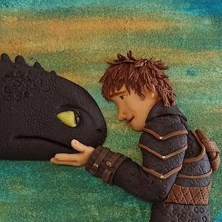 Hiccup and Toothless - Friendship Int'l Collab - Cake by Silvia Caeiro Cakes