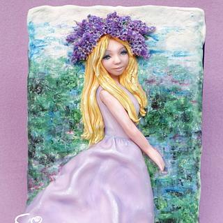 Girl with lilacs - Cake by Diana