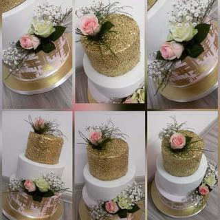 Gold wedding cake❤