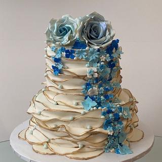 Shades of Blue Wedding cake - Cake by Ann