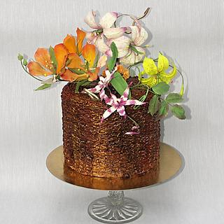 Cake with flowers of edible paper
