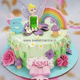 Tinker bell fairy theme fondant cake for girls birthday