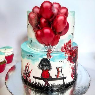 Handpaited cake for a girl ❤