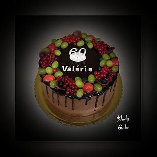 Chocolate birthday cake with fresh fruits