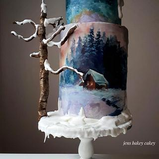 Painted winter cake