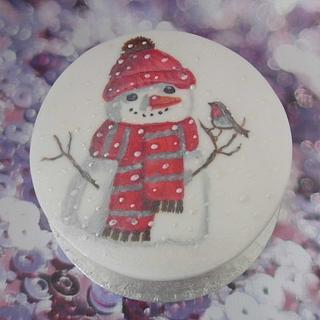 Christmas snowman and robin.