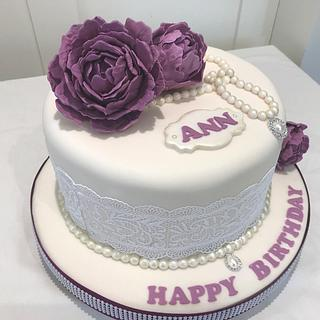 Purple Peonies, Pearls and Lace  - Cake by Margaret Lloyd