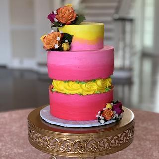Vibrant fault line cake