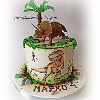 Dinosaur themed cake - Cake by Fondantfantasy