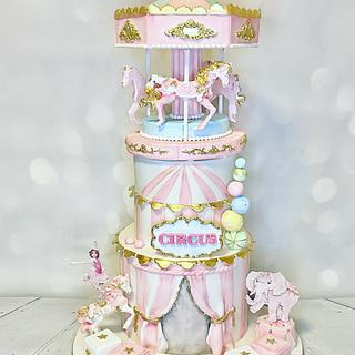 Circus Carousel  - Cake by Rock and Roses cake co.