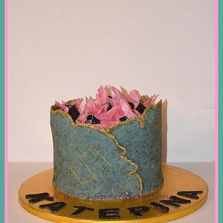 Sugar sheet technique birthday cake