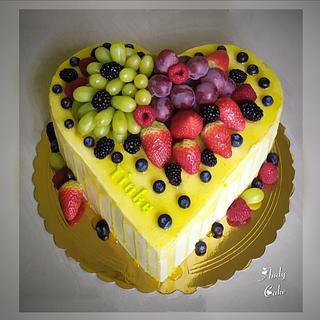Birthday cake with fresh fruits