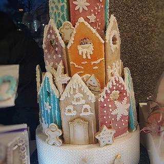 Gingerbread village cake