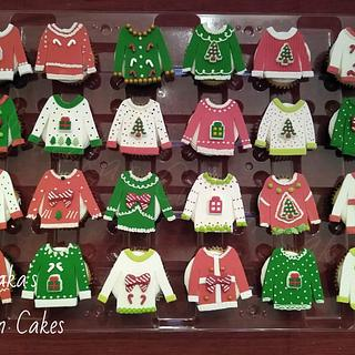 Christmas Sweater Cupcakes