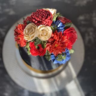 Korean buttercream floral cake
