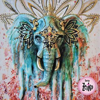 INCREDIBLE INDIA CAKE COLLABORATION - Painted Indian elephant - Cake by Torty Zeiko