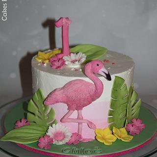 Flamingo smash cake - Cake by Cakes for Fun_by LaLuub