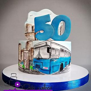 Bus themed cake