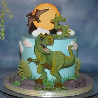 Dino cake (T-Rex and Pteranodon) - Cake by Cakes for Fun_by LaLuub