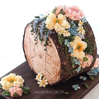 Woodland Buttercream Log Cake
