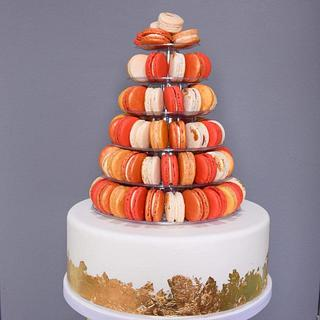 Cake and Macaron Tower Wedding Cake x 2 - Cake by Amy's Icing on the Cake