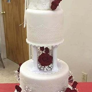 Red and White Wedding Cake - Cake by rdevon