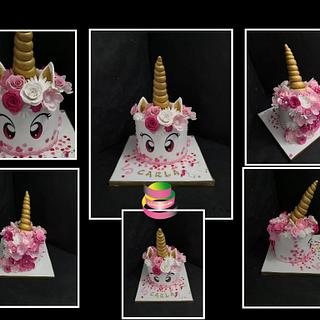 Flowery unicorn cake