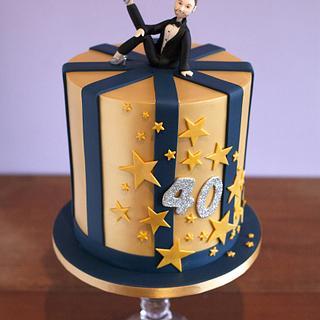 Golden 40th Birthday cake