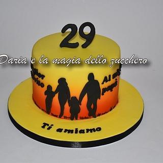 Silhouette family cake