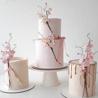 Cherry blossoms trio - Cake by Silvia Caballero