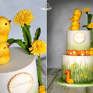 chickens and dandelion  - Cake by Lorna