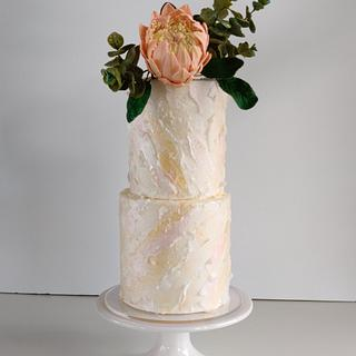 Wafer Paper Texture and Sugar Flowers - Cake by Anna Astashkina