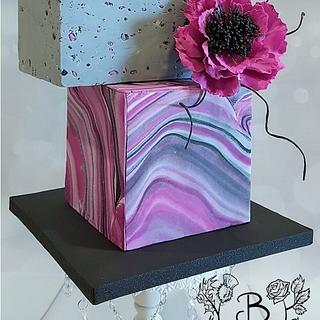 Square concrete and marble style cake - Cake by Bonnie Bakes UAE