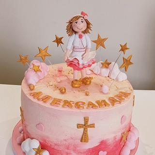 Girl christening cake - Cake by BoryanaKostadinova