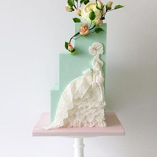 Lady in lace gown cake